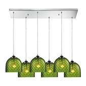 Contemporary Viva 6 Light Multi Pendant Ceiling Fixture - Elk Lighting 31080/6RC-GRN