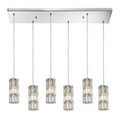 Crystal Cynthia 6 Light Pendant In Polished Chrome And Clear K9 Crystal - Elk Lighting 31486/6RC