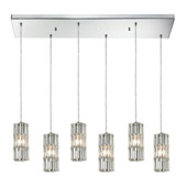 Crystal Cynthia 6 Light Pendant In Polished Chrome And Clear K9 Crystal - Elk Lighting 31487/6RC