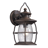Village Lantern 1 Light Outdoor Sconce In Weathered Charcoal - Elk Lighting 47040/1