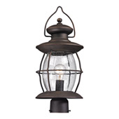 Village Lantern 1 Light Outdoor Post Light In Weathered Charcoal - Elk Lighting 47041/1