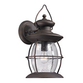 Village Lantern 1 Light Outdoor Sconce In Weathered Charcoal - Elk Lighting 47042/1