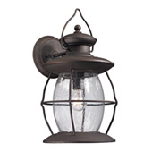 Village Lantern 1 Light Outdoor Sconce In Weathered Charcoal - Elk Lighting 47044/1