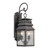 Forged Lancaster 2 Light Outdoor Sconce In Charcoal - Elk Lighting 47065/2