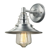 Insulator Glass 1 Light Outdoor Sconce In Brushed Aluminum - Elk Lighting 66700-1