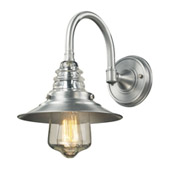 Insulator Glass 1 Light Outdoor Sconce In Brushed Aluminum - Elk Lighting 66702-1