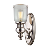 Chadwick 1 Light Wall Sconce In Polished Nickel And Halophane Glass - Elk Lighting 66780-1