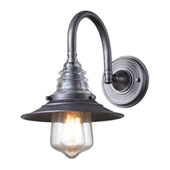 Insulator Glass 1 Light Wall Sconce In Weathered Zinc - Elk Lighting 66822-1