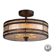 Mica Filigree Mica Filligree 2 Light Semi Flush In Tiffany Bronze And Tan Mica - Elk Lighting 70065-2-LA