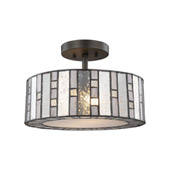 Ethan 2-Light Semi Flush in Tiffany Bronze with Clear Ripple, Gray Art, and Mercury Glass - Elk Lighting 70213/2