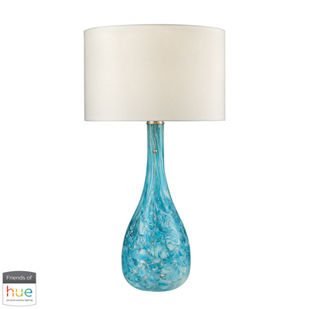ELK Home D2691-HUE-D Mediterranean Blown Glass Table Lamp in Seafoam - with Philips Hue LED Bulb/Dimmer