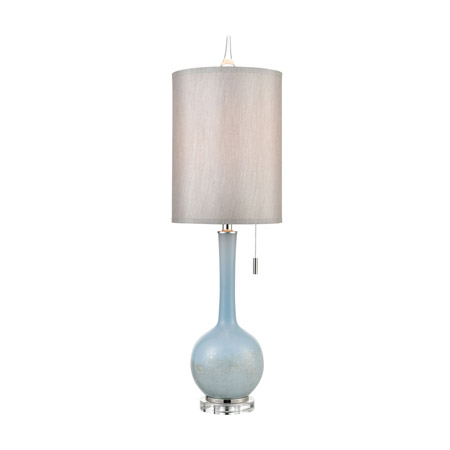 ELK Home D4513 Quantum Table Lamp in Blue and Polished Nickel with a Light Grey Faux Silk Shade and Clear Crystal