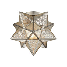 ELK Home 1145-011 Moravian Star 1-Light Flush Mount in Polished Nickel with Silver Mercury Glass
