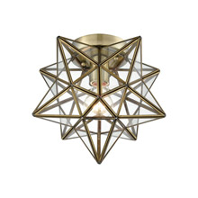 ELK Home 1145-027 Moravian Star 1-Light Flush Mount in Antique Brass with Clear Glass