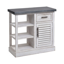 ELK Home 3138-501 Ballintoy Cabinet in Antique White and Galvanized Steel - Small