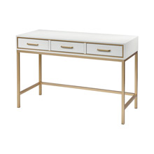 ELK Home 3169-101 Sands Point 3-Drawer Desk in Off-white and Gold