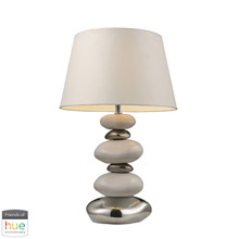 ELK Home 3948/1-HUE-D Elemis Table Lamp in Chrome and Stone with White Shade - with Philips Hue LED Bulb/Dimmer