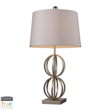 ELK Home D1494-HUE-D Donora Table Lamp in Silver Leaf with Milano Off-white Shade - with Philips Hue LED Bulb/Dimmer