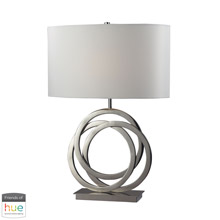 ELK Home D2058-HUE-D Trinity Table Lamp in Polished Nickel with White Shade - with Philips Hue LED Bulb/Dimmer
