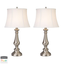 ELK Home D2366/S2-HUE-D Fairlawn Trump Home Table Lamps in Nickel (Set of 2) - with Philips Hue LED Bulb/Dimmer
