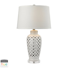 ELK Home D2621-HUE-B Openwork Ceramic Table Lamp in White with White Shade - with Philips Hue LED Bulb/Bridge