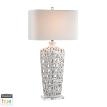 ELK Home D2637-HUE-D Woven Table Lamp in Gloss White - with Philips Hue LED Bulb/Dimmer