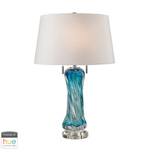 ELK Home D2664W-HUE-D Vergato Free Blown Glass Table Lamp in Blue with White Shade - with Philips Hue LED Bulb/Dimmer
