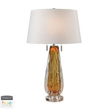 ELK Home D2669W-HUE-B Modena Free Blown Glass Table Lamp in Amber with White Shade - with Philips Hue LED Bulb/Bridge