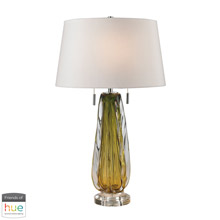 ELK Home D2670W-HUE-D Modena Free Blown Glass Table Lamp in Green with White Shade - with Philips Hue LED Bulb/Dimmer