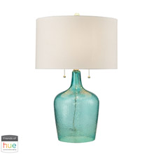 ELK Home D2689-HUE-D Hatteras 2-Light Table Lamp in Seabreeze with Hammered Glass - with Philips Hue LED Bulb/Dimmer
