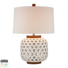 ELK Home D346-HUE-D Woven Ceramic Table Lamp in White and Wood Tone - with Philips Hue LED Bulb/Dimmer