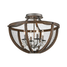 ELK Home D4330 Renaissance Invention 4-Light Semi Flush in Aged Wood and Wire - Round