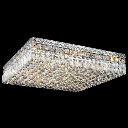 Elegant Lighting 2032f24c Ec Crystal Maxime Square Flush