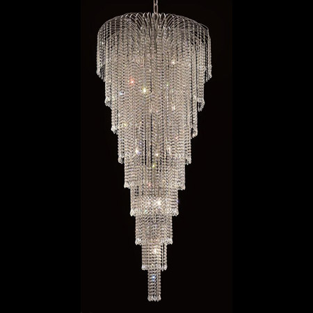 Elegant Lighting 6801g30c Ec Crystal Falls Tall Chandelier