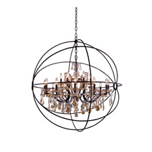 Elegant Lighting 1130G43DB-GT/RC Crystal Geneva Chandelier - Golden Teak (Smoky)