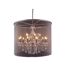 Elegant Lighting 1131D36MB/RC Crystal Brooklyn Veiled Chandelier - (Clear)