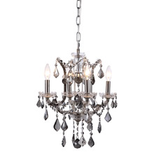 Elegant Lighting 1138D13PN-SS/RC Crystal Elena Mini Chandelier Pendant - Silver Shade (Grey)