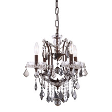 Elegant Lighting 1138D13RI-SS/RC Crystal Elena Mini Chandelier Pendant - Silver Shade (Grey)