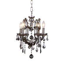 Elegant Lighting 1138D13RS-SS/RC Crystal Elena Mini Chandelier Pendant - Silver Shade (Grey)