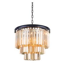 Elegant Lighting 1201D20MB-GT/RC Crystal Sydney Pendant - Golden Teak (Smoky)