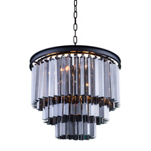 Elegant Lighting 1201D20MB-SS/RC Crystal Sydney Pendant - Silver Shade (Grey)