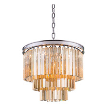 Elegant Lighting 1201D20PN-GT/RC Crystal Sydney Pendant - Golden Teak (Smoky)