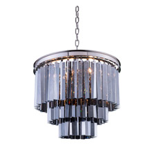 Elegant Lighting 1201D20PN-SS/RC Crystal Sydney Pendant - Silver Shade (Grey)