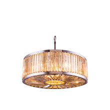 Elegant Lighting 1203D35PN-GT/RC Crystal Chelsea Large Pendant - Golden Teak (Smoky)