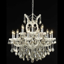 Elegant Lighting 2800D30WH-GT/RC Crystal Maria Theresa Chandelier - Golden Teak (Smoky)