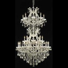 Elegant Lighting 2800D36SWH-GT/RC Crystal Maria Theresa Chandelier - Golden Teak (Smoky)