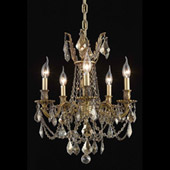 Crystal Rosalia Five Light Mini Chandelier - Elegant Lighting 9205D18FG-GT