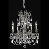 Crystal Rosalia Five Light Mini Chandelier - Elegant Lighting 9205D18PW