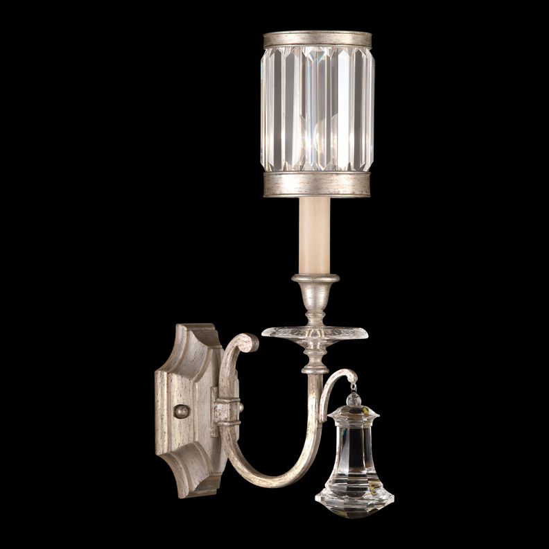 Fine art lamps 582850 2 crystal eaton place silver wall sconce