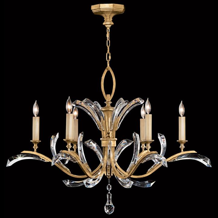 Fine Art Lamps 761240 Crystal Beveled Arcs Gold Chandelier